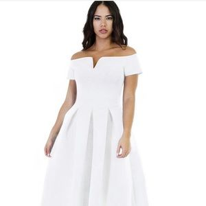 Lalagen White Cap Sleeve Empire Waist Dress
